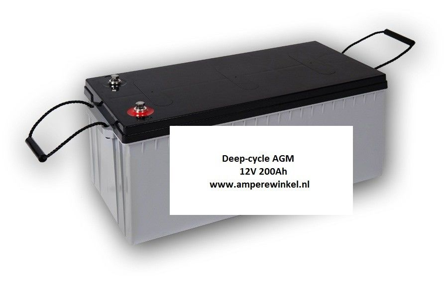 Beaut 200Ah AGM Deep-cycle Semi-tractie accu 12V / 10 uur / 1600 Cycli!-0