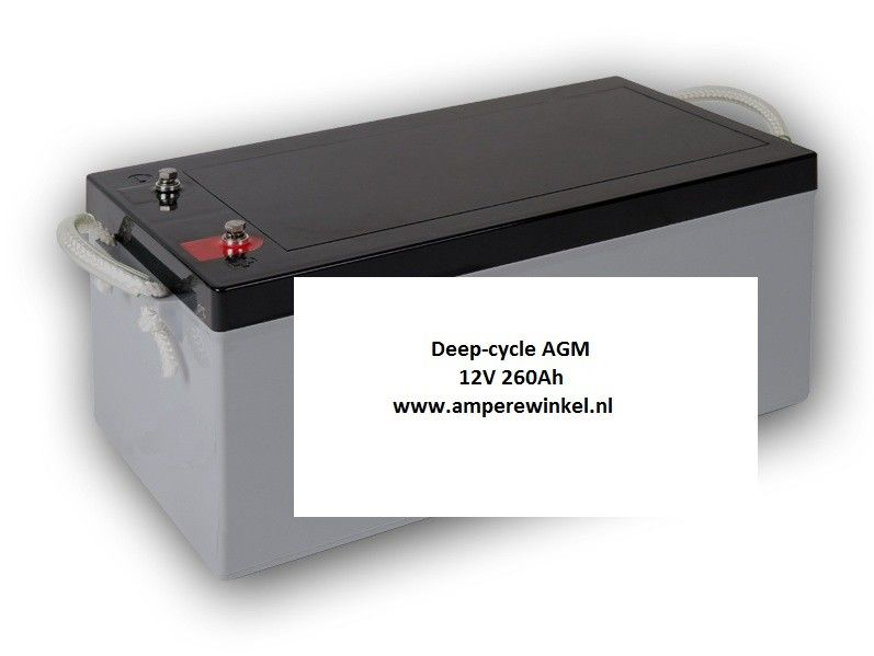 Beaut 260Ah AGM Deep-cycle Semi-tractie accu 12V / 10 uur / 1600 Cycli!-0