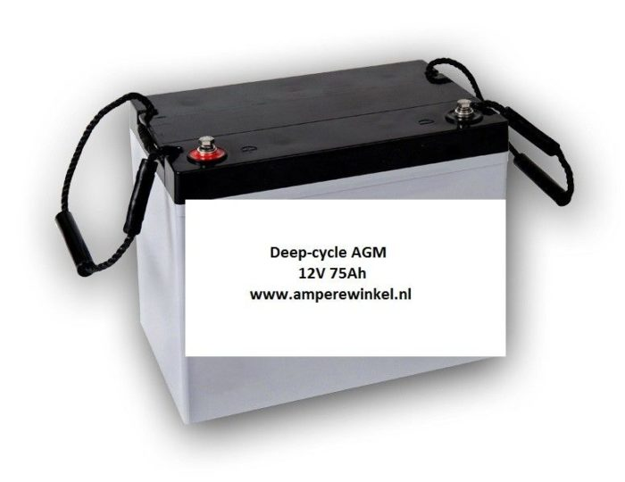 Beaut 75Ah AGM Deep-cycle Semi-tractie 12V / 10 uur / 1600 Cycli!-0
