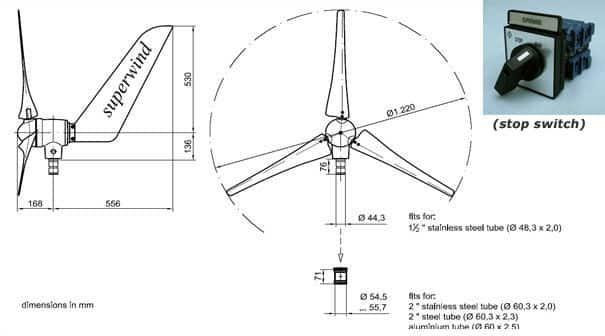 Superwind SW350 - Stille windgenerator Windmolen 12 Volt en 24 Volt 350W-1642