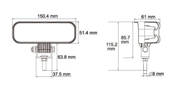 LED Werklamp Vrachtwagen Bestelwagen Trekker Heavy Duty 12V en 24V 1440 Lumen ip36k-3220